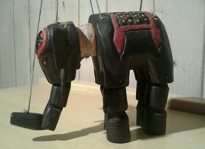 Hand made folk art carved wooden elephant puppet toy
