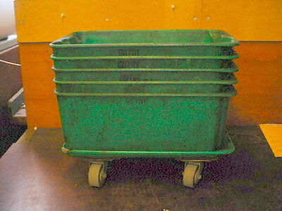 """5 - Stacking Fiberglass Parts Bins approx . 17-1/2"""" x 12"""" x 8""""  and Dolly"""