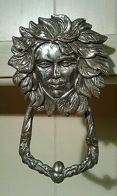 Antique art nouveau oak leaf and maidens face brass door knocker
