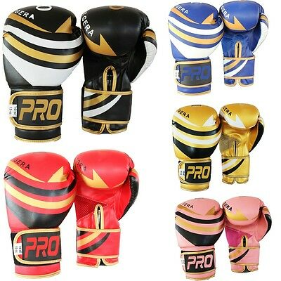 Kid & Adults Rex Leather Gel Boxing Gloves Muay Thai Grappling Pad Punch Bag