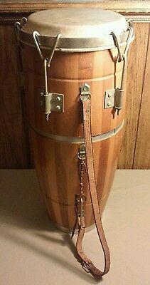 "Vtg 1950s Hand Made WOOD 30"" RAW HIDE Latin Mid Century Percussion CONGA Drum"