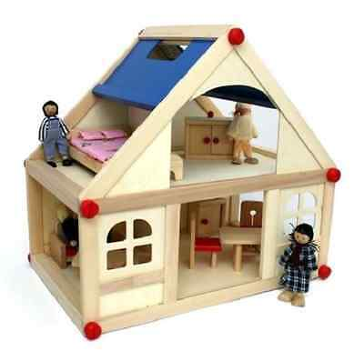 Wooden Dolls House With Furniture and Doll Family -  Kids Christmas Gift