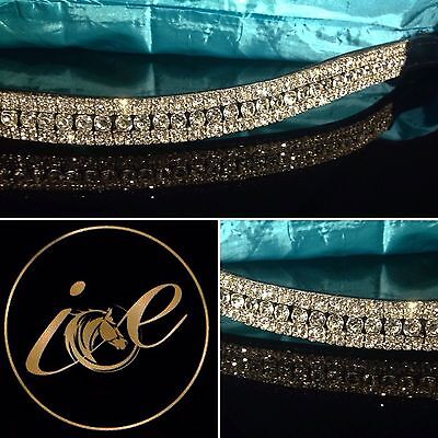 "Bling Equestrian 5 Row ICE Crystal Stone Dressage Browband Sizes 13""-17"" Sparkly"