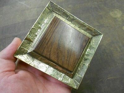 Vintage arts and crafts 4 inch square brass door handle pull with wood inlay