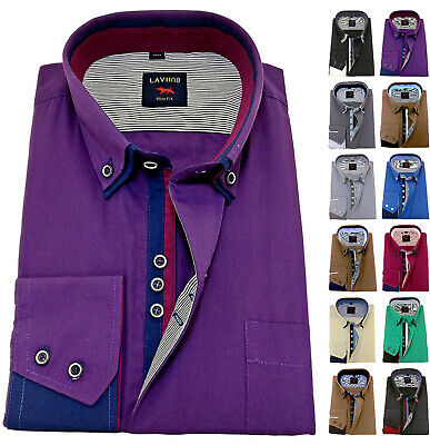 Men's Plain Cotton Shirt Button down Double collar Formal Casual Long sleeve