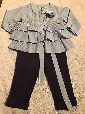 Unusual Ted Baker Style DesigU.2BS Baby Girl Top And Matching Trousers 6 Months