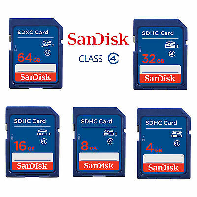 SanDisk 64GB 32GB 16GB 8GB SD SDHC SDXC Memory Flash Card Class 4 For Cameras