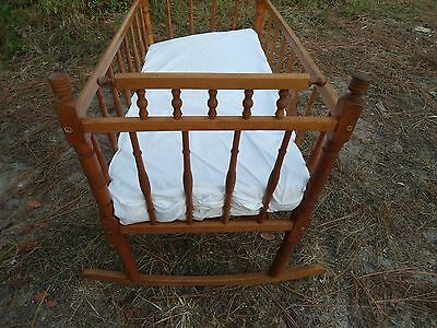 Antique Rocking Cradle/ Crib With Mattress Birch Wood Fantastic Condition
