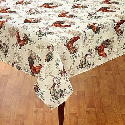 "Rooster Tablecloth Vintage French Country Decor Wrinkle Resistant 60""x84"" OB"
