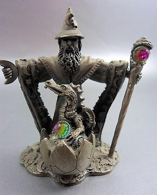 "Cast Pewter Crystal Wizard & Dragon ""Protector of the Young"" Roger Gibbons 3097"