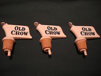 Old Crow Whiskey Advertising Collectible Bottle Topper Pourer Spout Lot of 3