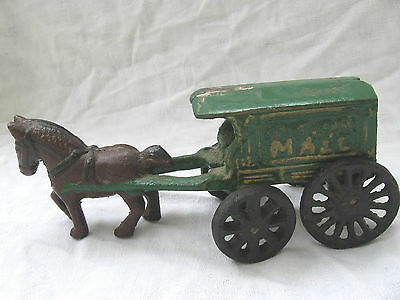 vtg repro Antique cast iron toy Mail Horse Wagon garden decoration decor works