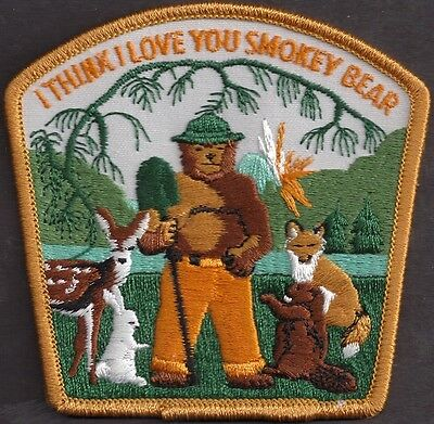 US Forest Service NEW Collectible 1976 I Love You Smokey Bear Gold Edge Patch