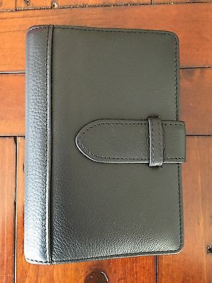 Aquascutum Black Leather Filofax Style Personal Organiser Approx A6 Size