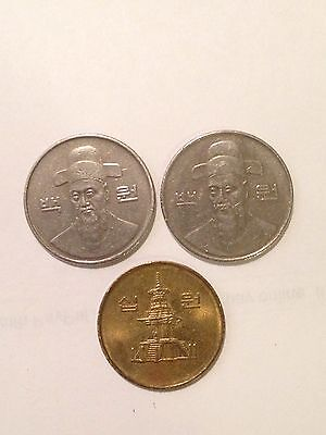 3 Assorted South Korean Won Coins, Year1989,1990,1995