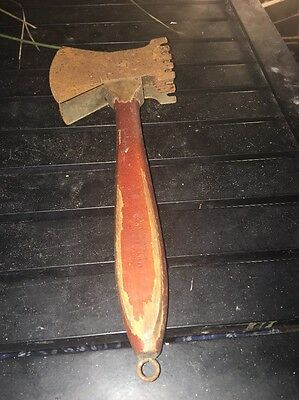 Vintage Pounder Meat Tenderizer Red Handled Country Kitchen Tool - Wood Handle
