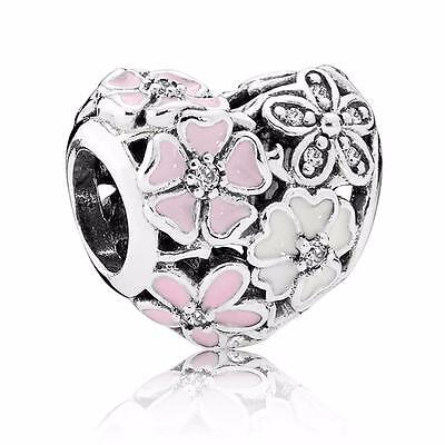 BLOOMS CHARM S925 Sterling Silver Flowers Pink White Bead & Free Pandora Cloth