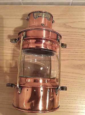 Vintage Ships Anchor Copper Candle Lantern Lamp Light