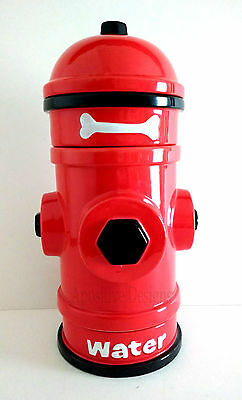 New! AKC 4 pc Ceramic Red Fire Hydrant Stackable Doggy Food Water and Treat Set