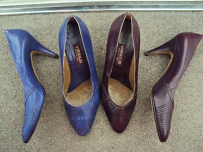 2X VIRGILIO Vintage shoes size 39 blue purple leather MADE IN ITALY kitten heels