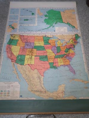 Vintage 1963 UNITED STATES WALL MAP - A.J. NYSTROM & CO.