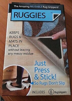RUGGIES, The Amazing Reusable Rug Grippers! as seen on TV! brand new, 8 included