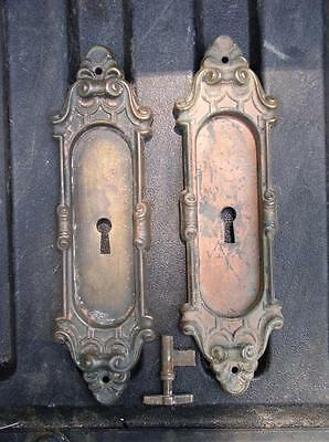 Architectural Ornate Antique PARLOR DOOR  Keyhole & Knob Covers Door Plates Set