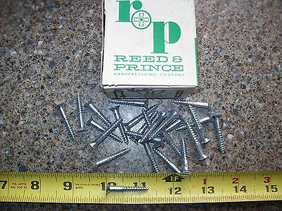 "Vintage #9 1-1/4"" Flat Head Slotted Steel Wood Screws Zinc Chromate 25 Pcs."