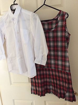 School Uniform Dress With White Shirt And Headband Dress Is New Girls Size 6