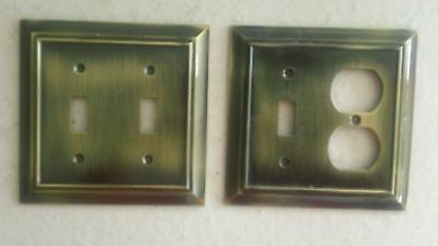 "Two Brass Outlet & Switch Covers, 1 Double Switch & 1 Switch/Outlet, 5"" x 4 ⅞"""