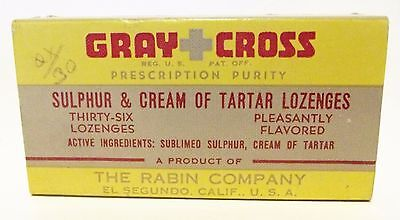 "GRAY-CROSS TARTAR Lozenges ""Full Box"" Vintage Apothecary Quack Patent Medicine"