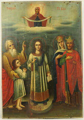 c.1890 ANTIQUE RUSSIAN ORTHODOX RELIGIOUS ICON HOLY PROTECTION OF MOTHER OF GOD