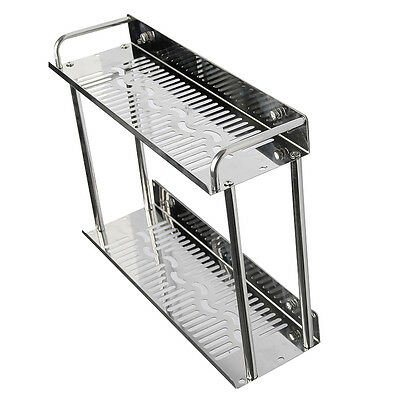 2 Tiers Wall Storage Shelf Holder Stainless Steel Toilet Bathroom Accessory CL