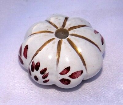 Old Muskmelon Shape Flower Design Ceramic Door Knob Drawer Handle Collectible