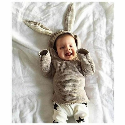 Baby Kids Toddler Children Rabbit Ear Warm Knite Sweater Pullover Tops Clothes