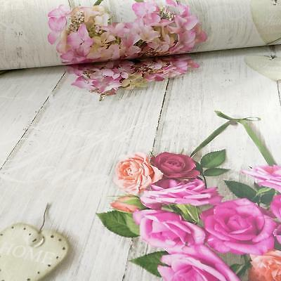 Grandeco Ideco Vintage Hearts Wood Beam Rose Floral Motif Wallpaper Pink
