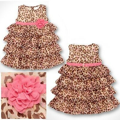 Baby Girl Sleeveless Leopard Flower Layer Dress Tutu Clothes Summer Outfit Party