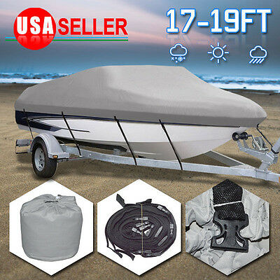 "17 18 19Ft Waterproof Trailerable V-Hull Boat Cover 95"" Beam Heavy Duty Fabric T"