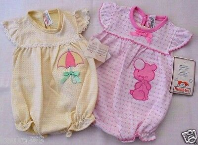 NWT Health Tex BABY GIRL ROMPERS 6 MONTHS One Piece BUBBLE SUIT Yellow Pink CUTE