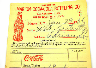 Coca-Cola Fahrer Bestellschein USA 1930 Coke Order Sheet Marion Bottling Co. ROT