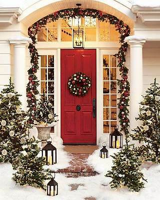 """Pottery Barn Christmas Outdoor Indoor Pine Wreath Medium 22"""" Red Silver NEW"""