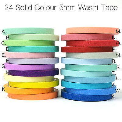 5mm 24 Solid Colour Paper Washi Tape Masking Adhesive Roll Decorative Card Craft
