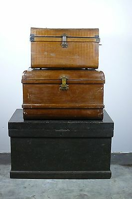 Large Victorian Tin Travel Trunk Chest Very Good Condition