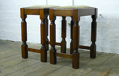 Matching Pair Of Attractive Mid Height 1930S Oak Upholstered Stools