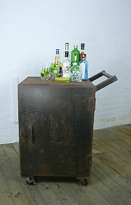 Truly Wonderful Vintage Raw Steel Factory Cabinet On Large Casters With Door