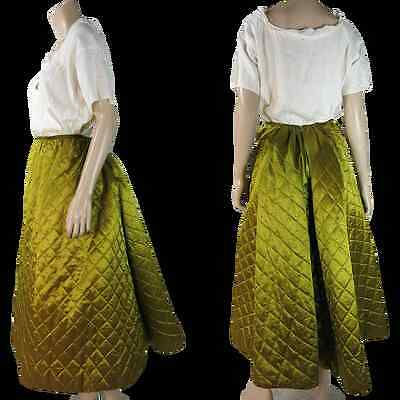Antique Victorian 1880's Quilted Chartreuse Silk Bustle Petticoat with lace