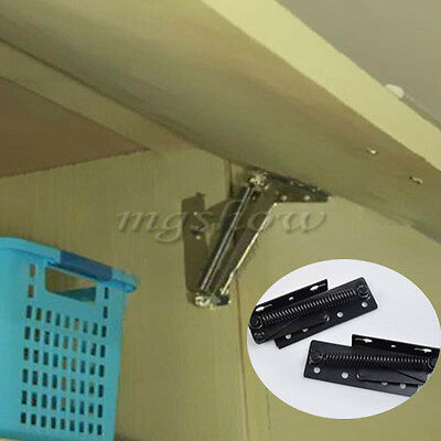 2x Sprung Hinges Cabinet Door Lift Up Stay Flap 80° Top Support Cupboard Kitchen