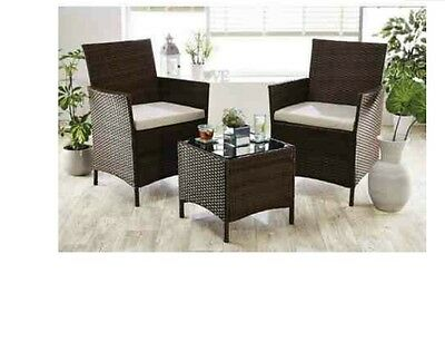 2 Chair All Weather Garden Rattan Bistro Set & Table & 2 Sets of 2 cushions
