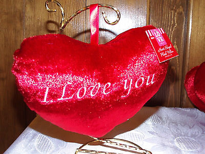 Red Heart Shaped Plush Pillow Ornaments I LOVE YOU embroidered