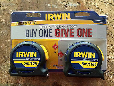 Irwin 5m x 19mm Professional Pocket Tape Measure Twin Pack 1840437